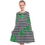 Houndstooth Leaf Kids  Midi Sailor Dress