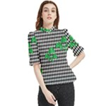 Houndstooth Leaf Frill Neck Blouse