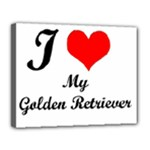 I Love Golden Retriever Canvas 14  x 11  (Stretched)