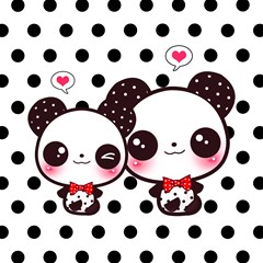 panda black dots back