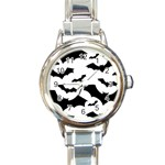 Deathrock Bats Round Italian Charm Watch