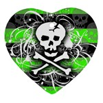 Deathrock Skull Heart Ornament (Two Sides)