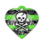 Deathrock Skull Dog Tag Heart (Two Sides)