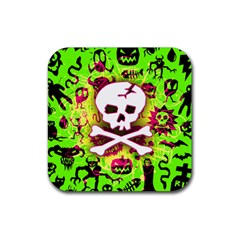 Deathrock Skull & Crossbones Rubber Square Coaster (4 pack) from ArtsNow.com Front