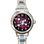 Girly Skull & Crossbones Round Italian Charm Watch