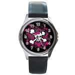 Girly Skull & Crossbones Round Metal Watch