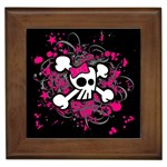 Girly Skull & Crossbones Framed Tile