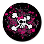 Girly Skull & Crossbones Round Mousepad