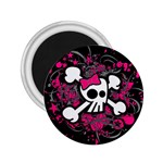 Girly Skull & Crossbones 2.25  Magnet