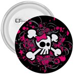 Girly Skull & Crossbones 3  Button