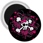 Girly Skull & Crossbones 3  Magnet