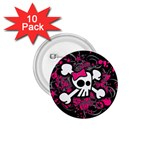 Girly Skull & Crossbones 1.75  Button (10 pack)
