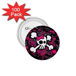 Girly Skull & Crossbones 1.75  Button (100 pack)