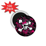 Girly Skull & Crossbones 1.75  Magnet (100 pack)
