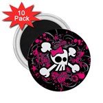 Girly Skull & Crossbones 2.25  Magnet (10 pack)