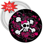 Girly Skull & Crossbones 3  Button (100 pack)