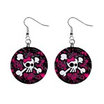 Girly Skull & Crossbones 1  Button Earrings