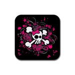 Girly Skull & Crossbones Rubber Coaster (Square)