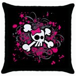 Girly Skull & Crossbones Throw Pillow Case (Black)