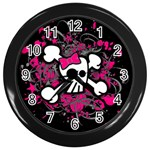 Girly Skull & Crossbones Wall Clock (Black)