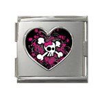Girly Skull & Crossbones Mega Link Heart Italian Charm (18mm)