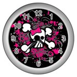 Girly Skull & Crossbones Wall Clock (Silver)