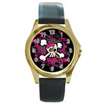 Girly Skull & Crossbones Round Gold Metal Watch
