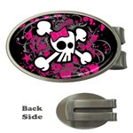 Girly Skull & Crossbones Money Clip (Oval)