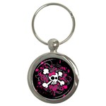 Girly Skull & Crossbones Key Chain (Round)