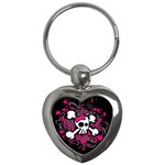 Girly Skull & Crossbones Key Chain (Heart)