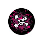 Girly Skull & Crossbones Rubber Round Coaster (4 pack)