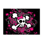 Girly Skull & Crossbones Sticker (A4)