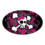 Girly Skull & Crossbones Magnet (Oval)