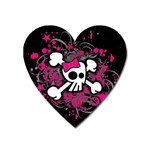 Girly Skull & Crossbones Magnet (Heart)