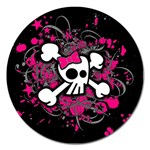 Girly Skull & Crossbones Magnet 5  (Round)