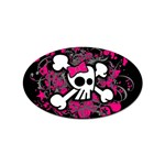 Girly Skull & Crossbones Sticker Oval (100 pack)