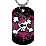 Girly Skull & Crossbones Dog Tag (Two Sides)