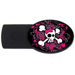 Girly Skull & Crossbones USB Flash Drive Oval (2 GB)