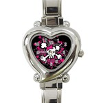 Girly Skull & Crossbones Heart Italian Charm Watch