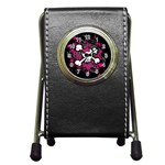 Girly Skull & Crossbones Pen Holder Desk Clock