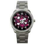Girly Skull & Crossbones Sport Metal Watch