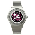 Girly Skull & Crossbones Stainless Steel Watch