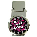 Girly Skull & Crossbones Money Clip Watch