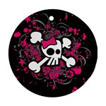 Girly Skull & Crossbones Round Ornament (Two Sides)