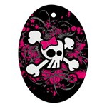 Girly Skull & Crossbones Oval Ornament (Two Sides)
