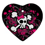 Girly Skull & Crossbones Heart Ornament (Two Sides)