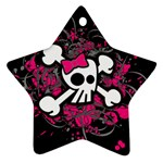 Girly Skull & Crossbones Star Ornament (Two Sides)