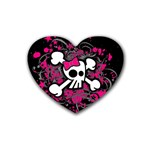 Girly Skull & Crossbones Rubber Coaster (Heart)