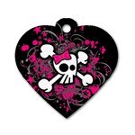 Girly Skull & Crossbones Dog Tag Heart (Two Sides)