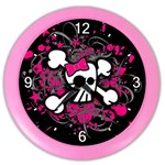 Girly Skull & Crossbones Color Wall Clock
